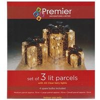 Set of 3 Light Up Light up Gift Boxes/Presents with Black Bows - Silver Parcles