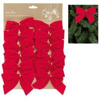 Christmas Tree Velvet Bows Red Decoration - 12 Pack - 12cm