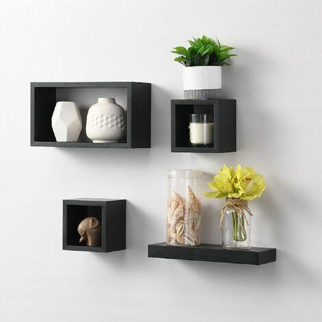 Set Of 4 Floating Shelf/Shelves Black Wall Decoration