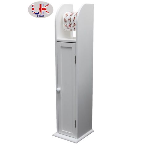 White Wood Free Standing Toilet Paper Roll Holder Bathroom Storage Cabinet -0061