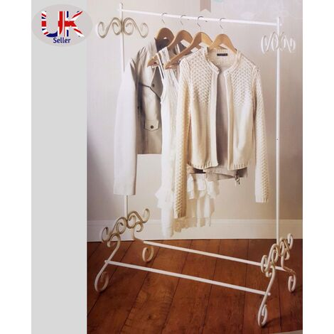 G-0083 Shabby Chic Cream Metal Garment Rail Vintage Style Clothes hanging stand
