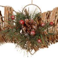 "Christmas Decorations Rustic Berry & Glitter Heart Wreath 16"" Xmas Decor"