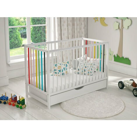 Summer Cot with Drawer, Free Mattress and Safety Barrier 120 x 60cm