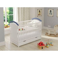 Blue Amie Cot with Drawer and Safety Wooden Barrier 120 x 60cm