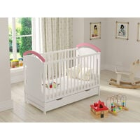 Pink Amie Cot with Drawer and Safety Wooden Barrier