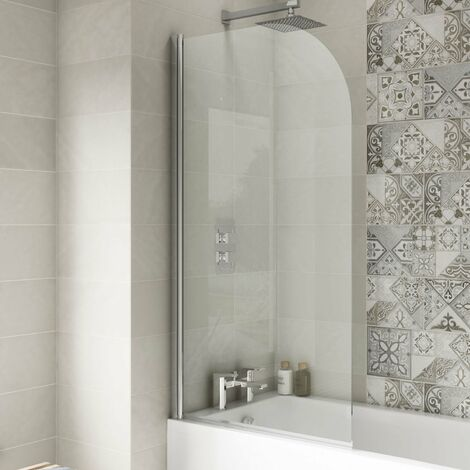 Nuie Pacific Round Top Bath Screen 1430mm H x 785mm W - 6mm Glass