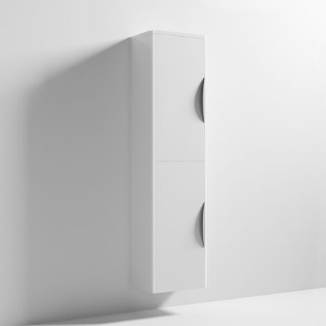 Nuie Parade Tall Wall Mounted Cupboard Unit 350mm Wide - Gloss White