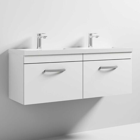 Nuie Athena Wall Hung 2-Drawer Vanity Unit with Double Basin 1200mm Wide - Gloss White