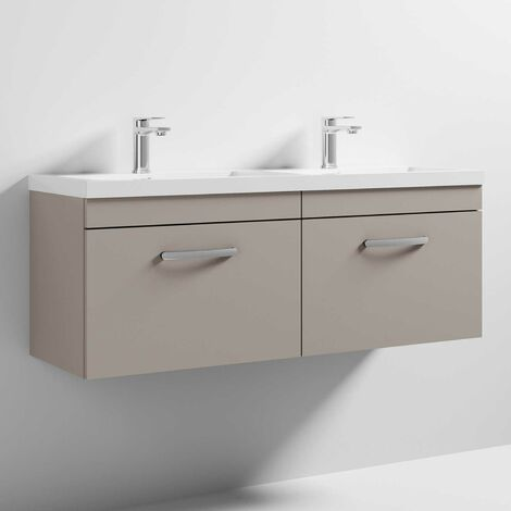 Nuie Athena Wall Hung 2-Drawer Vanity Unit with Double Basin 1200mm Wide - Stone Grey
