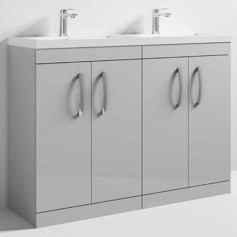 Nuie Athena Floor Standing 4-Door Vanity Unit with Double Basin 1200mm Wide - Gloss Grey Mist