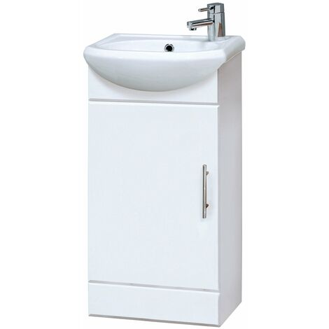 Nuie Mayford Floor Standing Vanity Unit with Basin 400mm Wide Gloss White - 1 Tap Hole
