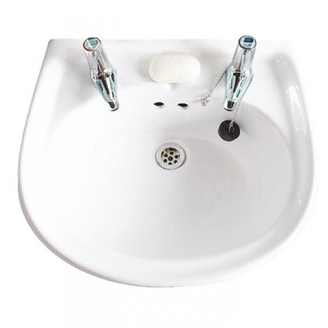 AKW Livenza Basin with Full Pedestal 500mm Wide - 2 Tap Hole