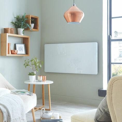 Heatwave Vetro Frame Electric Glass Horizontal Radiator 600mm H x 1000mm W - White