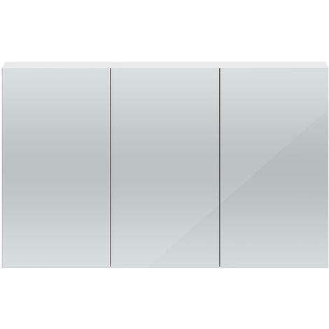 Hudson Reed Quartet 3 Door Mirrored Cabinet 1350mm Wide - Gloss White