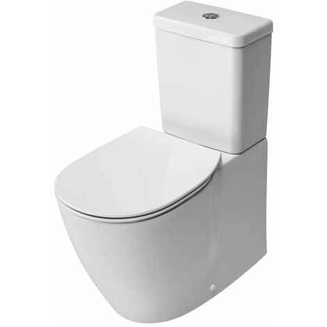 Ideal Standard Concept Aquablade Cube Close Coupled Back to Wall Toilet Cistern Slim - Soft Close Seat