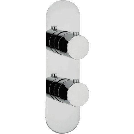 JTP Florence Slimline Thermostatic Concealed 1 Outlet Shower Valve Dual Handle - Chrome