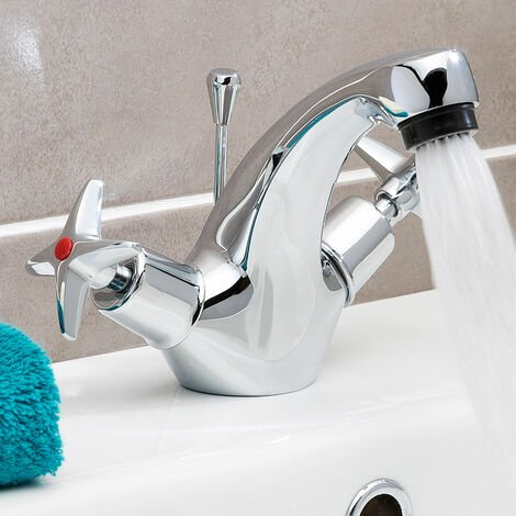 JTP Astra Crosshead Mono Basin Mixer Tap with Pop Up Waste Dual Handle - Chrome