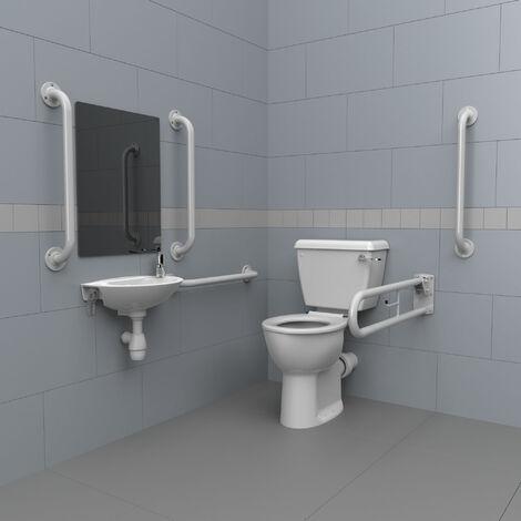 Nymas Close Coupled Disabled Toilet Doc M Pack White - White Grab Rails