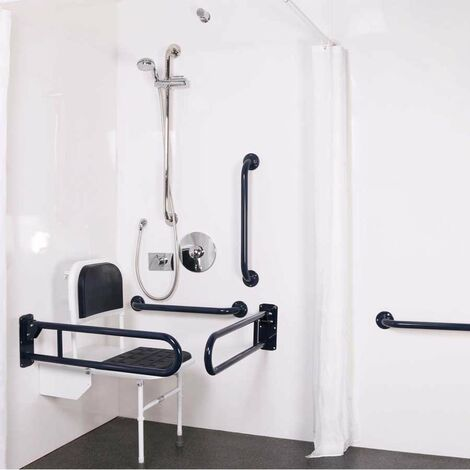 Nymas NymaPRO Doc M Shower Pack White with Concealed Valves and White Rails