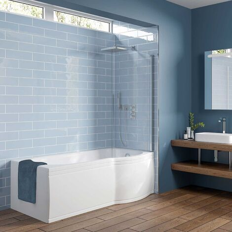 Orbit P-Shaped Shower Bath 1700mm x 750mm/850mm - Right Handed