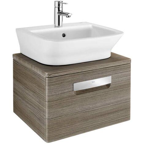 Roca The Gap 1-Drawer Bathroom Vanity Unit with Basin 500mm W - Dark Wood