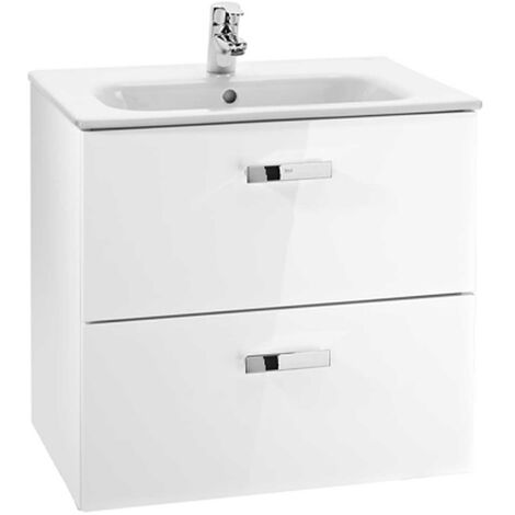 Roca Victoria Wall Mounted 2-Drawer Vanity Unit with Square Basin 600mm Wide - Gloss White