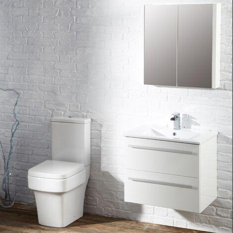 Verona Trevi 2-Door Mirrored Bathroom Cabinet 650mm H x 600mm W White
