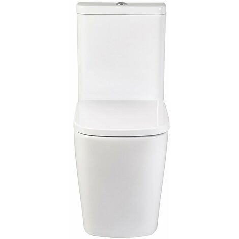 Verona Modo Flush to Wall Close Coupled Toilet With Push Button Cistern - Soft Close Seat