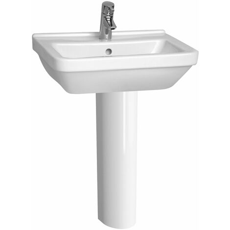 Vitra S50 Square Basin and Full Pedestal 550mm Wide 1 Tap Hole