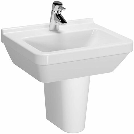 Vitra S50 Square Basin and Small Semi Pedestal 500mm Wide 1 Tap Hole