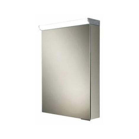 HiB Flux Aluminium Illuminated Bathroom Cabinet 600mm H x 400mm W x 115/150mm D
