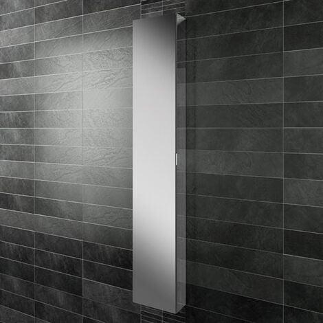 HiB Eris 30 Single Door Mirrored Tall Aluminium Bathroom Cabinet 1700mm H x 300mm W