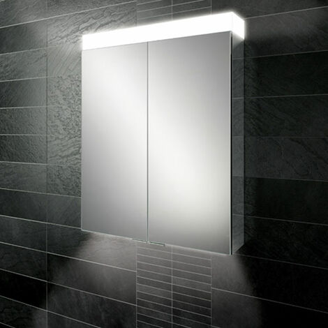 HiB Apex 60 Aluminium Bathroom Cabinet with Mirrored Sides 750mm H X 600mm W