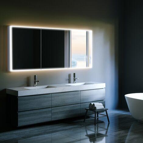 HiB Qubic 120 Triple Door LED Bathroom Cabinet 700mm H x 1200mm W x 130mm D