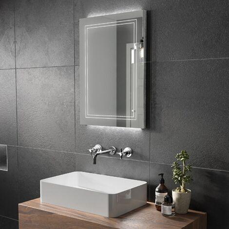 HiB Outline 60 LED Back-Lit Bathroom Mirror 800mm H x 600mm W