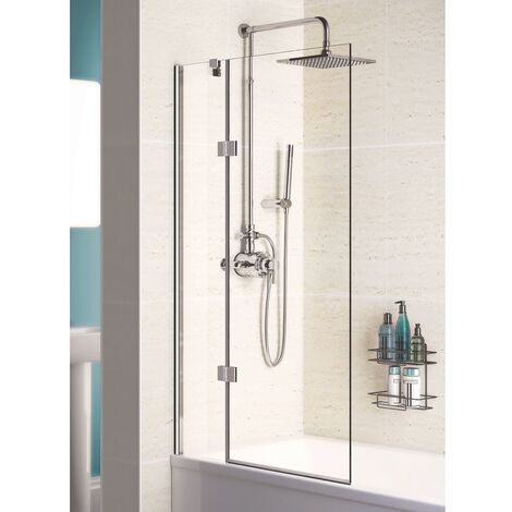 Signature Contract Hinged Bath Screen 1500mm H x 1000mm W - Left Handed