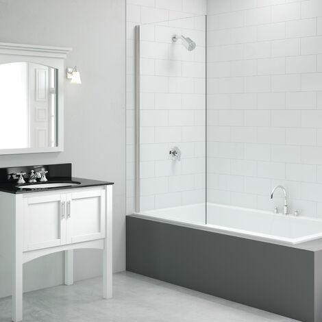 Signature Vibrance Single Fixed Square Bath Screen 1500mm High x 800mm Wide - 6mm Glass