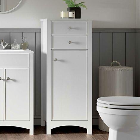 Signature Copenhagen Floor Standing 1-Door and 2-Drawer Tall Boy Unit 465mm Wide - Satin White Ash