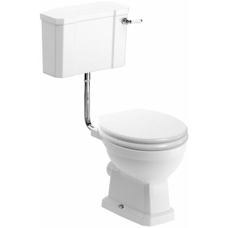 Signature Aphrodite Low Level Toilet with Lever Cistern - Satin White Ash Soft Close Seat