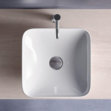 RAK Variant Square Countertop Wash Basin 360mm Wide 0 Tap Hole - Alpine White