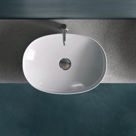 RAK Variant Oval Drop-In Wash Basin 500mm Wide 0 Tap Hole - Alpine White