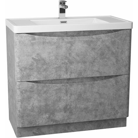Cali Bali 2-Drawer Floor Standing Vanity Unit with Basin 900mm Wide - Concrete