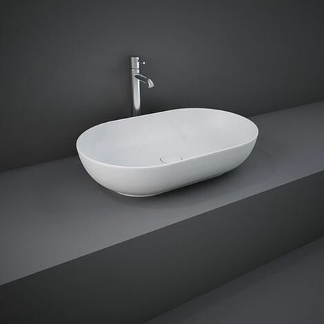 RAK Feeling Oval Countertop Wash Basin 550mm Wide - Matt White