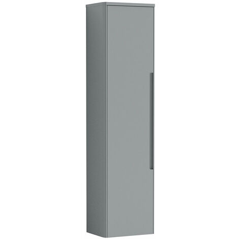 Nuie Elbe Wall Hung 1-Door Tall Storage Unit 356mm Wide - Satin Grey