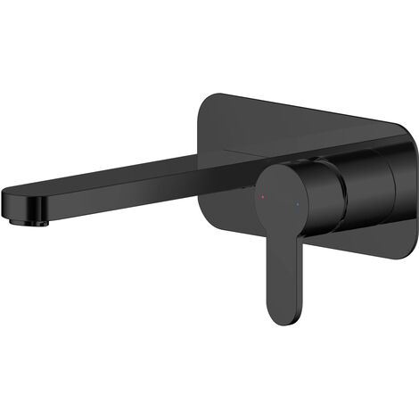 Nuie Arvan 2-Hole Basin Mixer Tap with Plate Wall Mounted - Matt Black