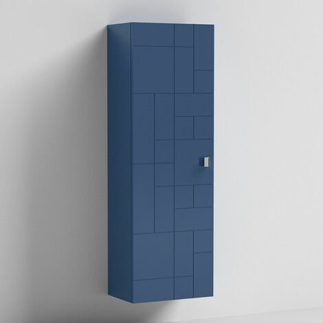 Nuie Blocks Wall Hung 1-Door Tall Storage Unit 400mm Wide - Satin Blue