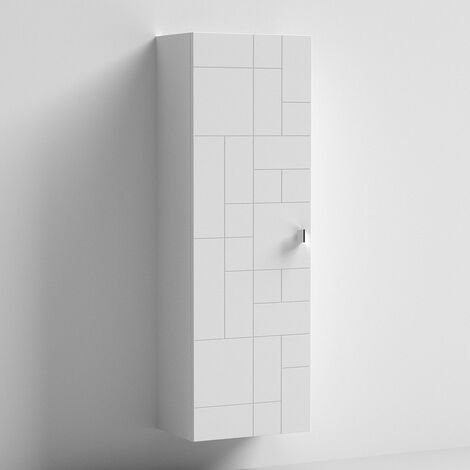Nuie Blocks Wall Hung 1-Door Tall Storage Unit 400mm Wide - Satin White