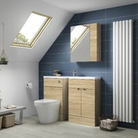 Hudson Reed Fusion Compact WC Unit 500mm Wide - Natural Oak