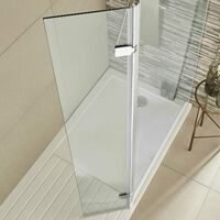 Hudson Reed Hinged Wet Room Return Panel with Support Bar 300mm Wide - 8mm Glass