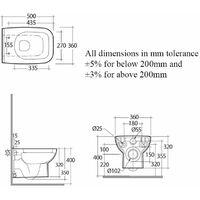RAK Origin Wall Hung Toilet 500mm Projection - Soft Close Seat